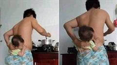 Vừa trông con vừa nấu cơm, ông bố nghĩ ra phương án oái oăm khiến các mẹ bật cười: 'Các anh đã hiểu được nỗi khổ của chúng tôi chưa?'