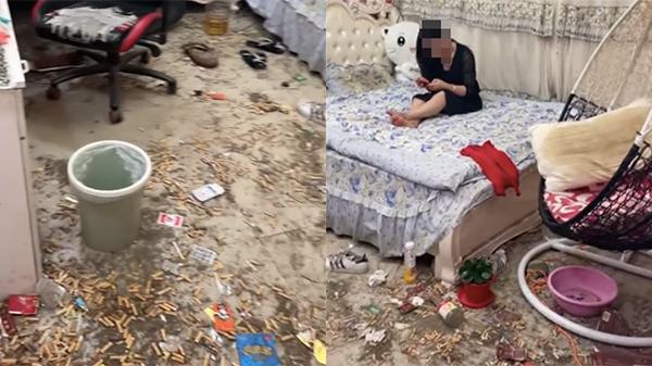 Clip: Kinh hãi phòng ngủ sang chảnh của cô gái nhìn như bãi rác, gối đen sì cả năm không giặt, nền nhà đồ đạc vứt ngổn ngang