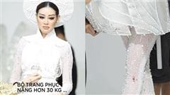 Khánh Vân gặp chấn thương trong buổi chụp hình với trang phục dân tộc 'Kén em'