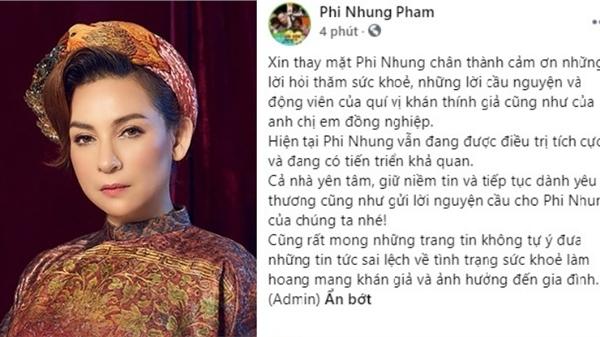 Phía Phi Nhung thông báo tình trạng sức khỏe của nữ ca sĩ sau hơn 1 tháng điều trị Covid-19