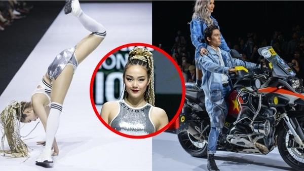 4 sao Việt 'tạo nét' khi catwalk: Minh Hằng nhào lộn suýt té vì chủ quan