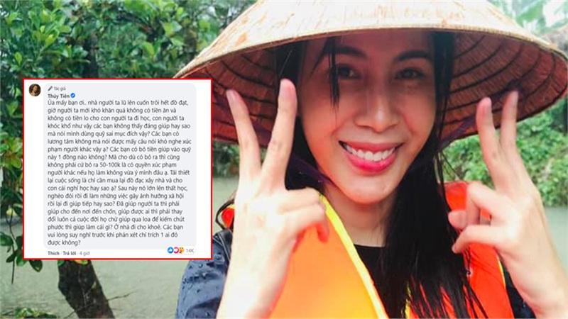 Thủy Tiên gay gắt đáp trả lời miệt thị vì tài trợ học phí cho 2 học sinh miền Trung