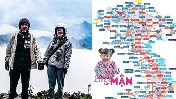 Chàng kỹ sư nghỉ việc đưa vợ đi xuyên Việt và tấm bản đồ check-in cực yêu của bé Mận