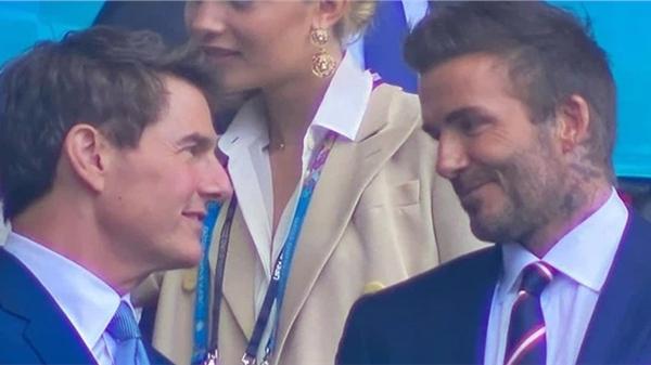 Clip khoảnh khắc hội ngộ của 2 huyền thoại Tom Cruise và David Beckham trên khán đài Chung kết Euro 2020 gây sốt MXH