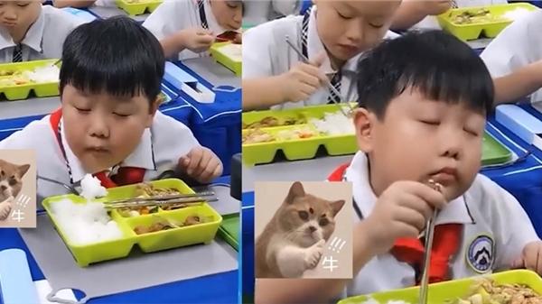 Clip gây lú: Màn ăn cơm ở trường không biết là đang thưởng thức hay đang ngủ của cậu học trò