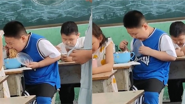 Biểu cảm của cậu bé trong giờ ăn tại trường khiến dân mạng cười nắc nẻ