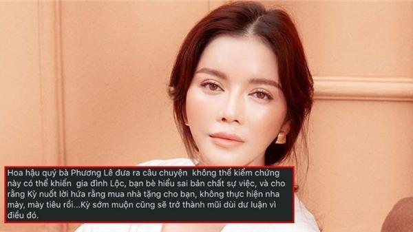 Lý Nhã Kỳ bức xúc khi HH Phương Lê đưa thông tin gây hiểu lầm chuyện hứa mua nhà cho chuyên gia make-up Minh Lộc