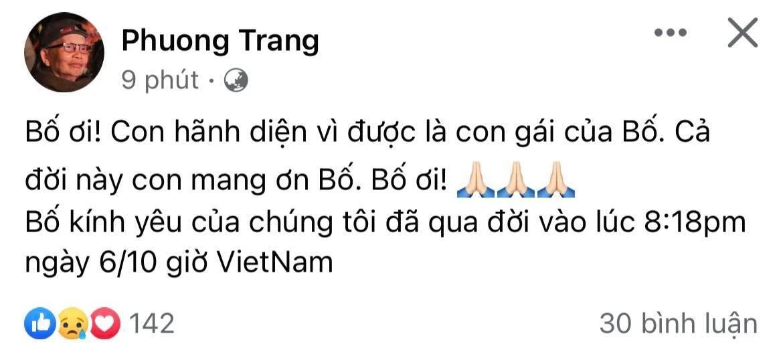 Bài thông báo của ca sĩ Phương Trang.